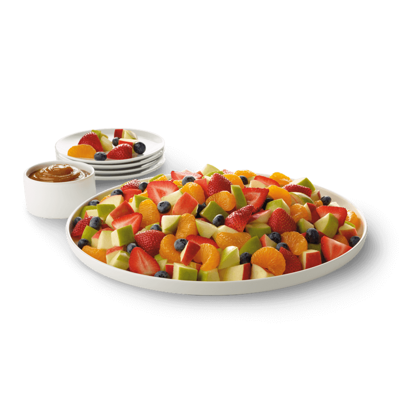Enjoy the Chick-fil-A fruit tray featuring a nutritious mix of mandarin orange segments, fresh strawberries, red and green apple pieces and blueberries, served chilled, in a variety of sizes with caramel dipping sauce on the side.