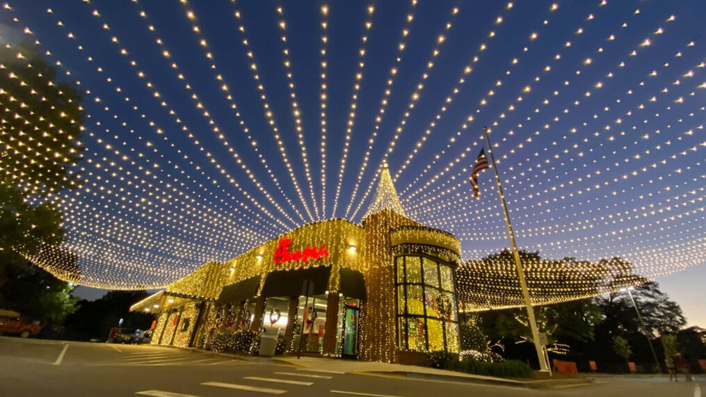Christmas lights on a Chick-fil-A Restaurant