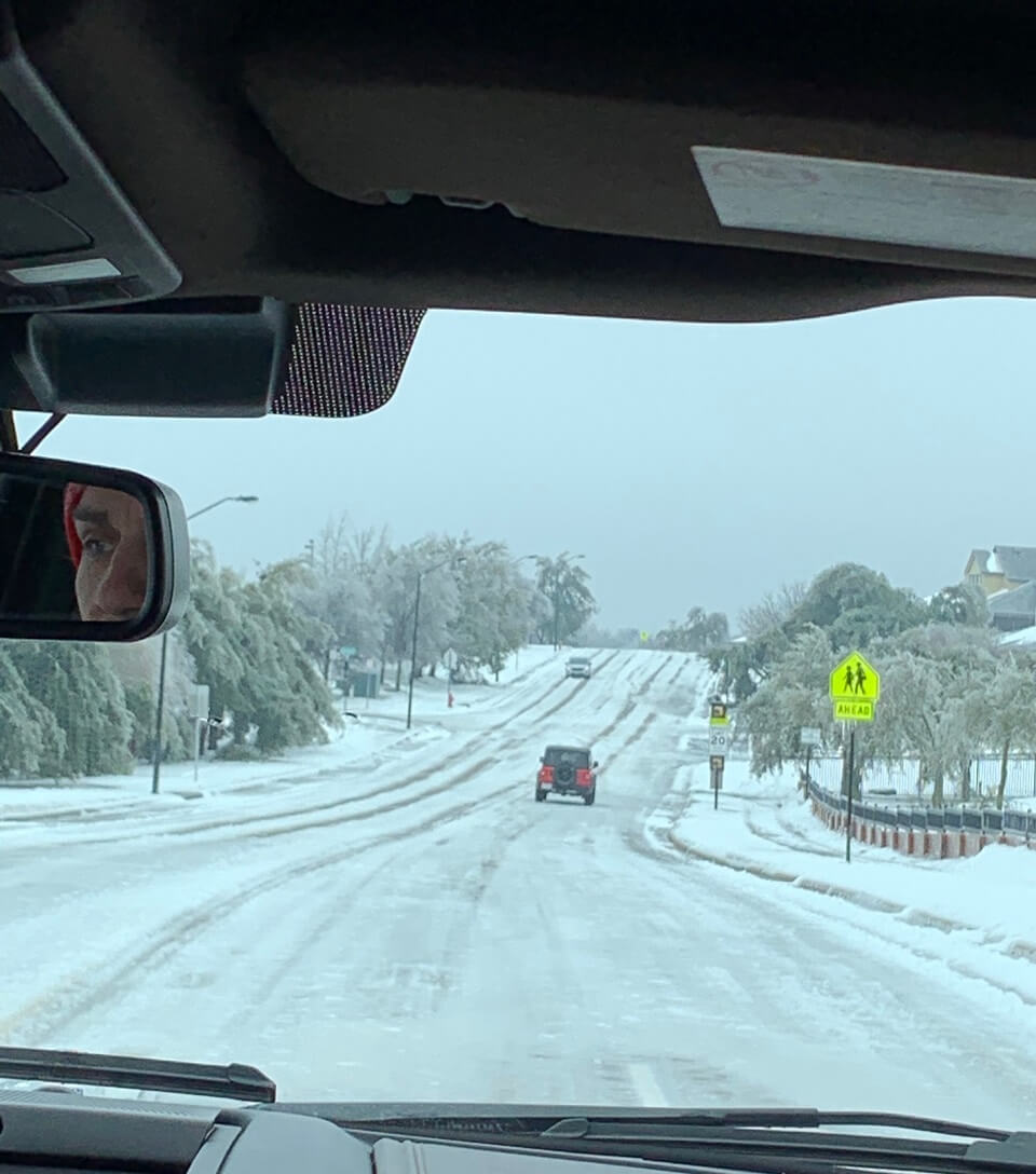 Icy roads during the 2021 winter storms in Texas