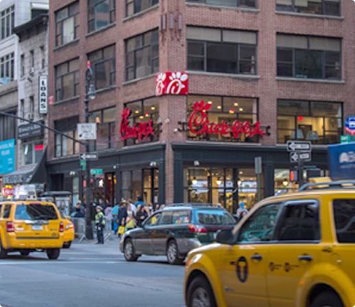View of NYC Chick-fil-A from across the street