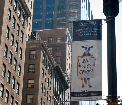 Image of a Chick-fil-A banner on Madison Avenue