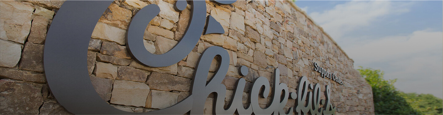Chick-fil-A logo on stone background