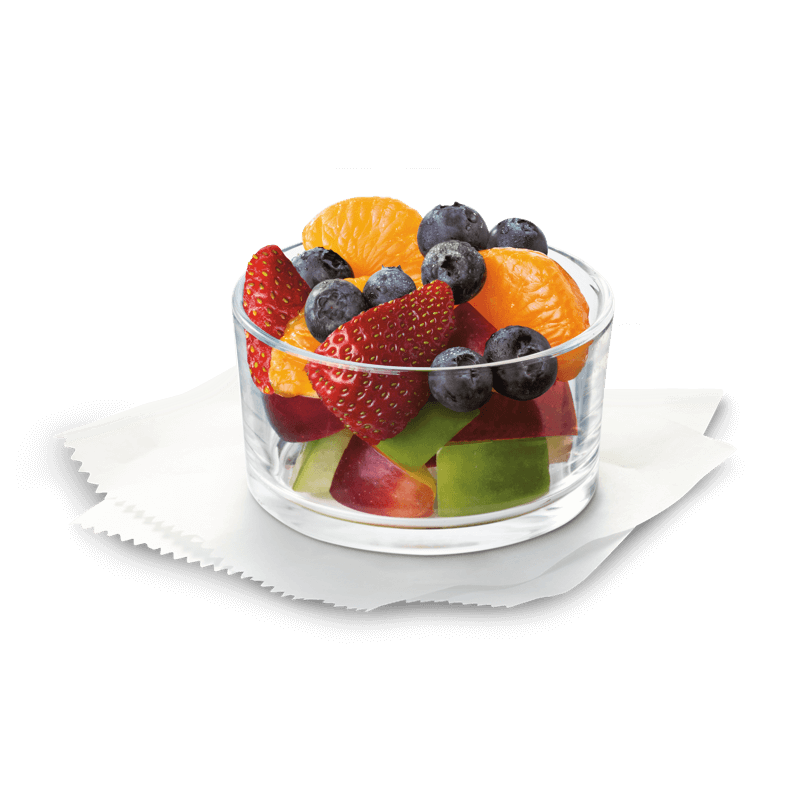 A nutritious fruit mix made with mandarin orange segments, fresh strawberries, blueberries and red and green apple pieces