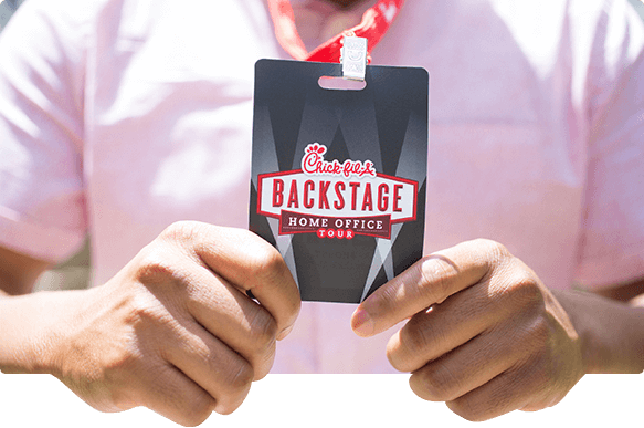 An image of a Chik-fil-A backstage home office tour badge
