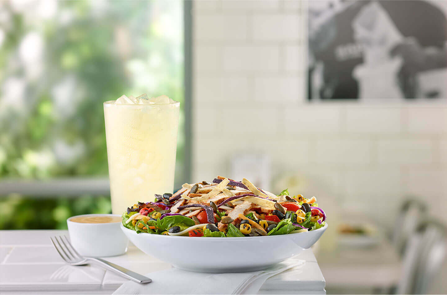 Spicy southwest chicken salad and a glass of lemonade