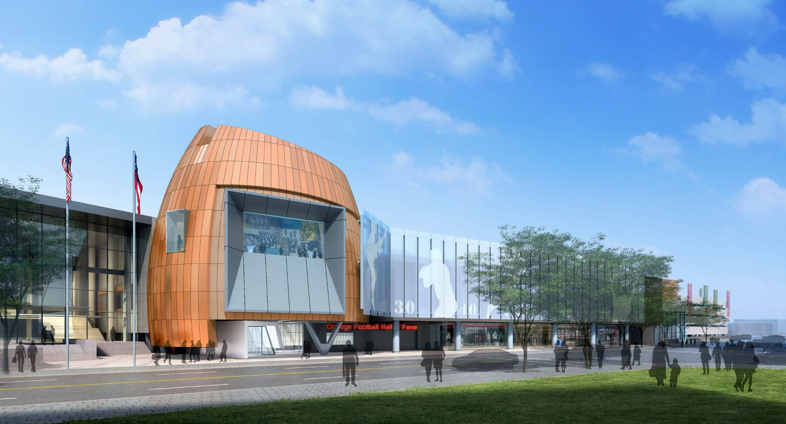 Photo of the college football hall of fame building grand opening