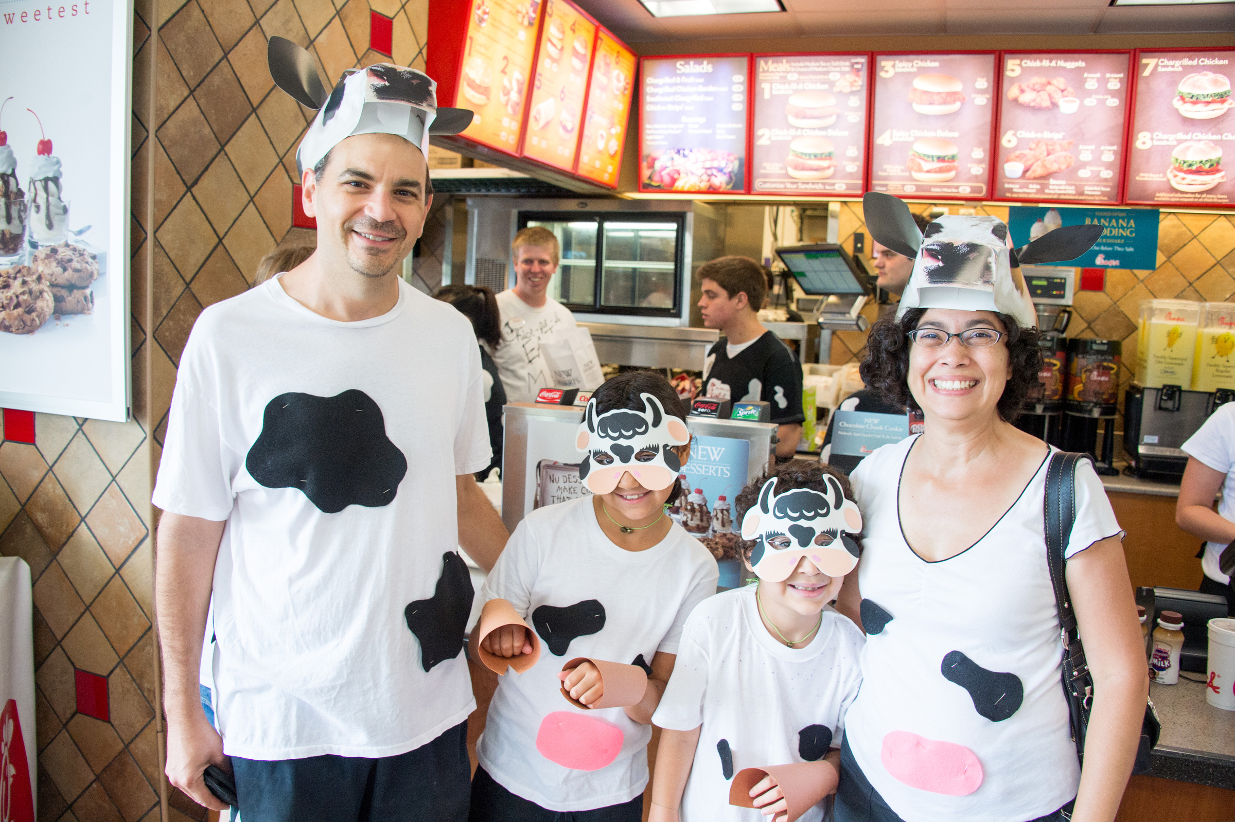 Customers dressed up for cow appreciation day