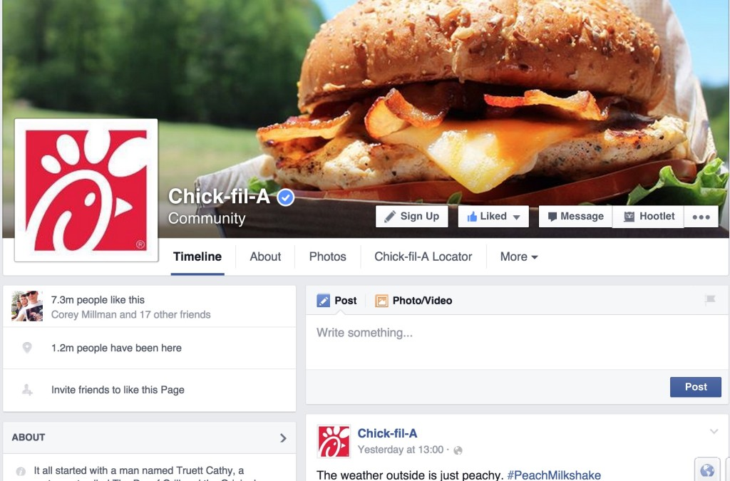 Chick-fil-A on facebook