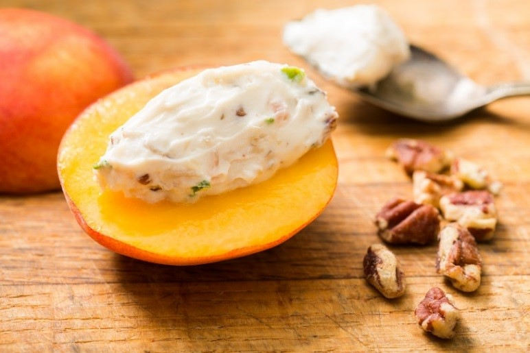 Goat cheese stuffed peaches
