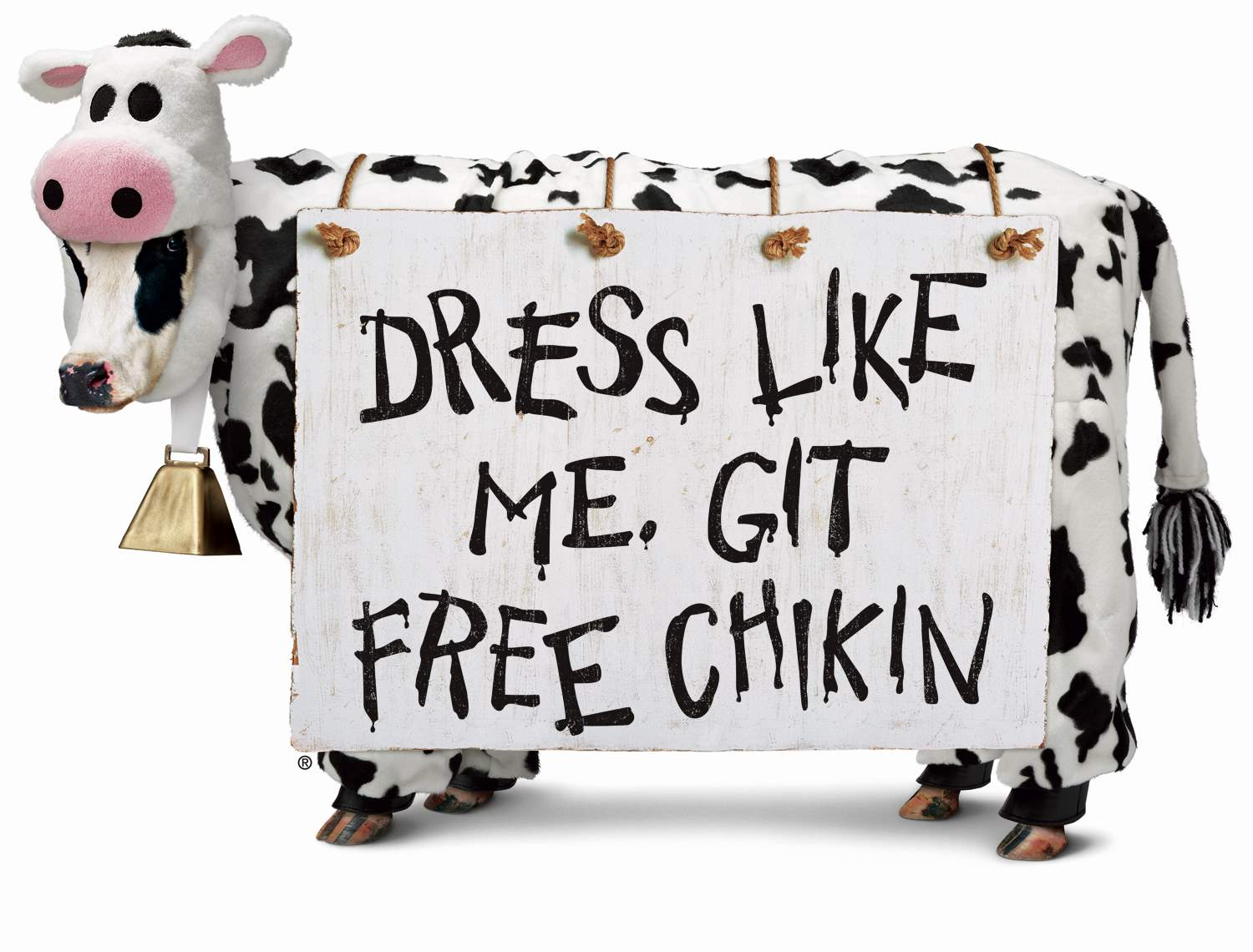 Horizontal cow sign promoting cow dress up for free chicken