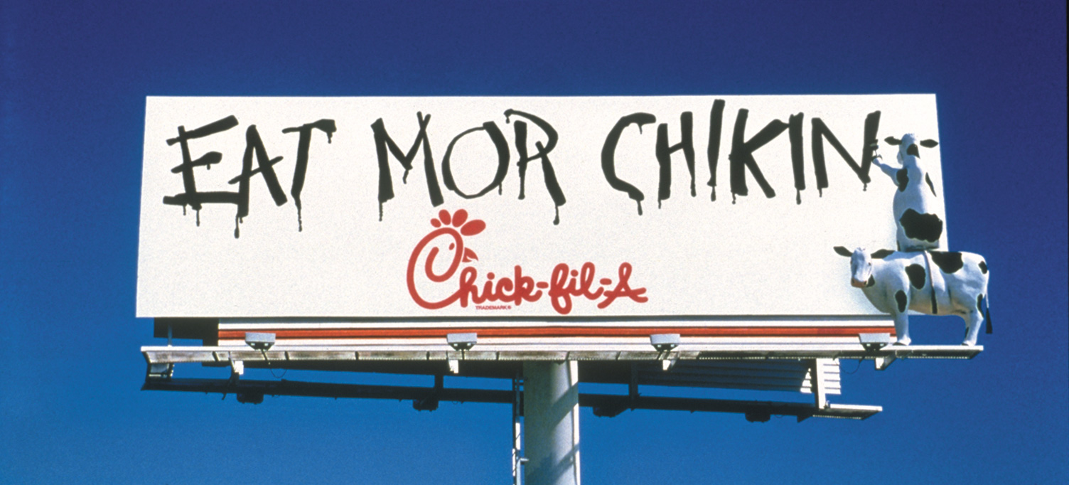 1995 – The cows commandeer their first billboard