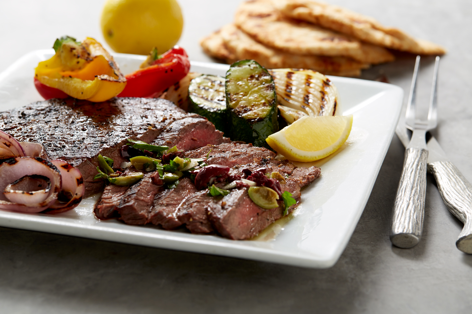 Grilled Flank Steak with Lemon Olive Vinaigrette