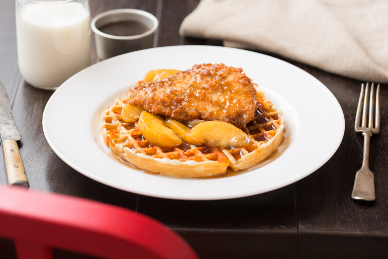 Chicken with Cheddar Waffle & Cinnamon Apples