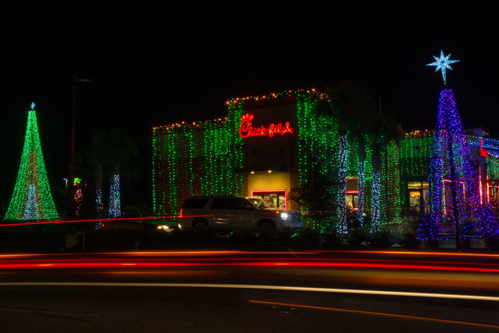 Christmas lights illuminating the outside of Jason Dittman's Tampa Chick-fil-A restaurant