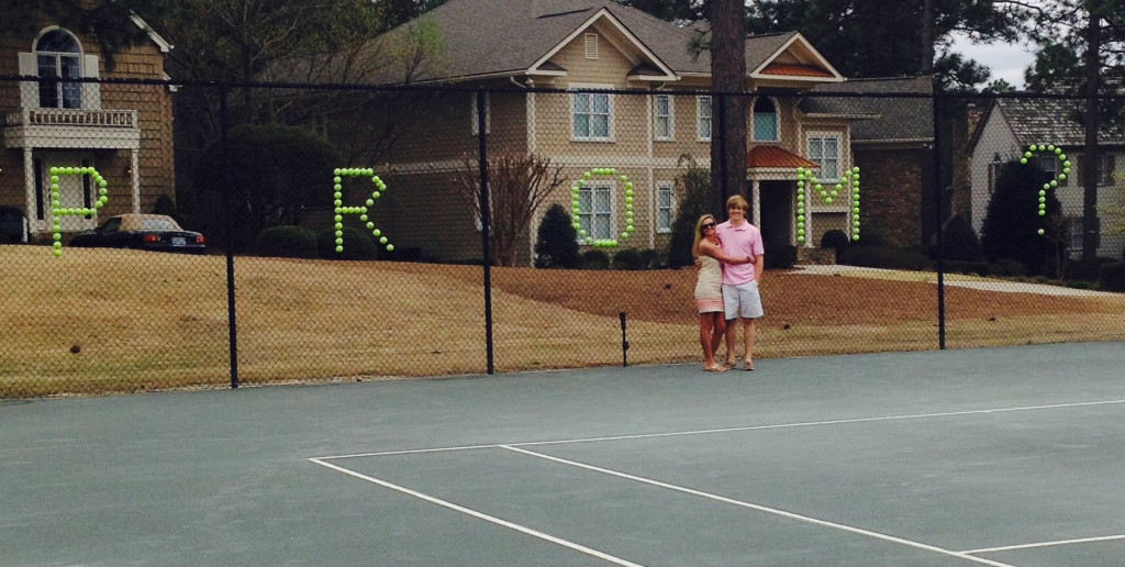 "Caroline Decker's date spelled out ""PROM?"" with tennis balls in his promposal."