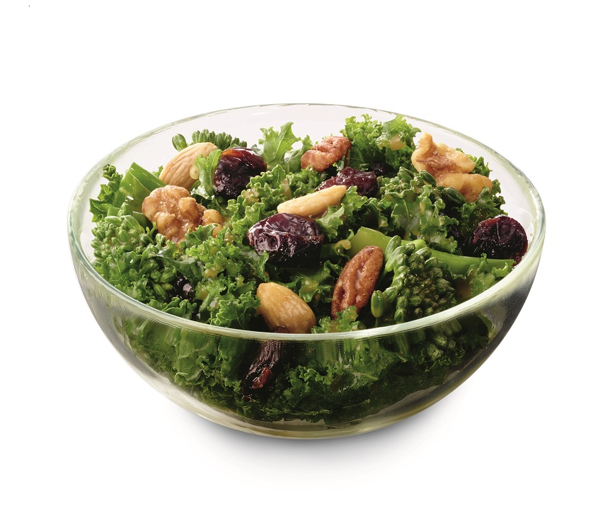 Superfood salad consisting of kale, broccolini, dried sour cherries and a blend of nuts