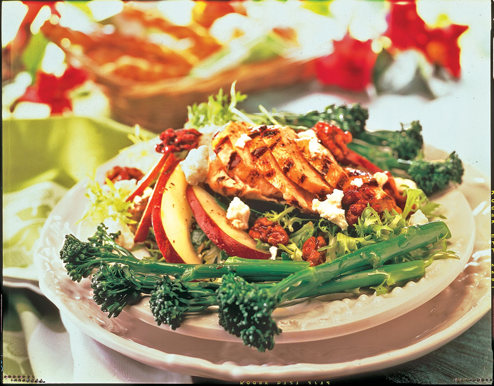 Grilled chicken broccolini salad with goat cheese pecans