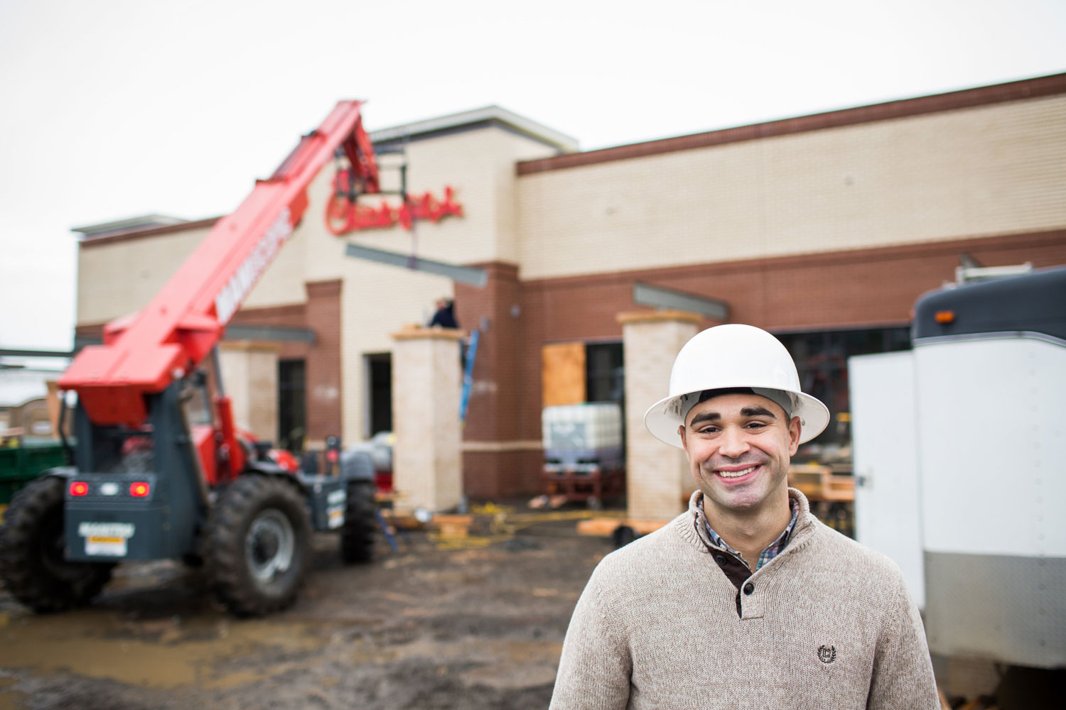 Chick-fil-A owner Brian Davis at his store construction site