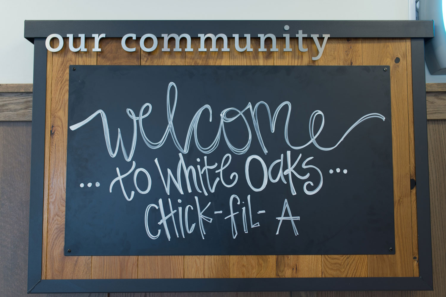 Welcome to White Oaks Chick-fil-A sign