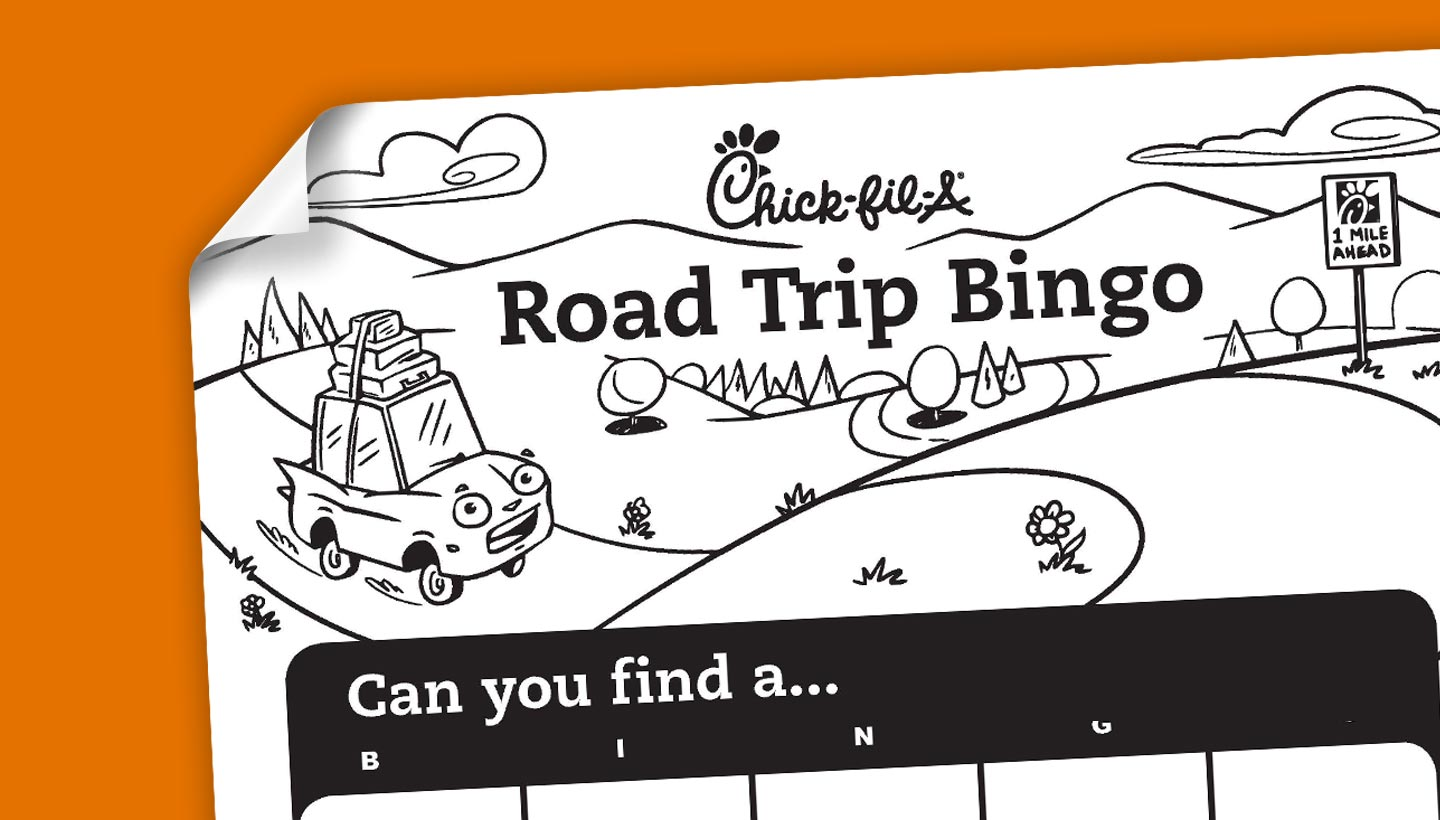 graphic relating to Road Trip Bingo Printable named Printable: Highway Family vacation Bingo Chick-fil-A