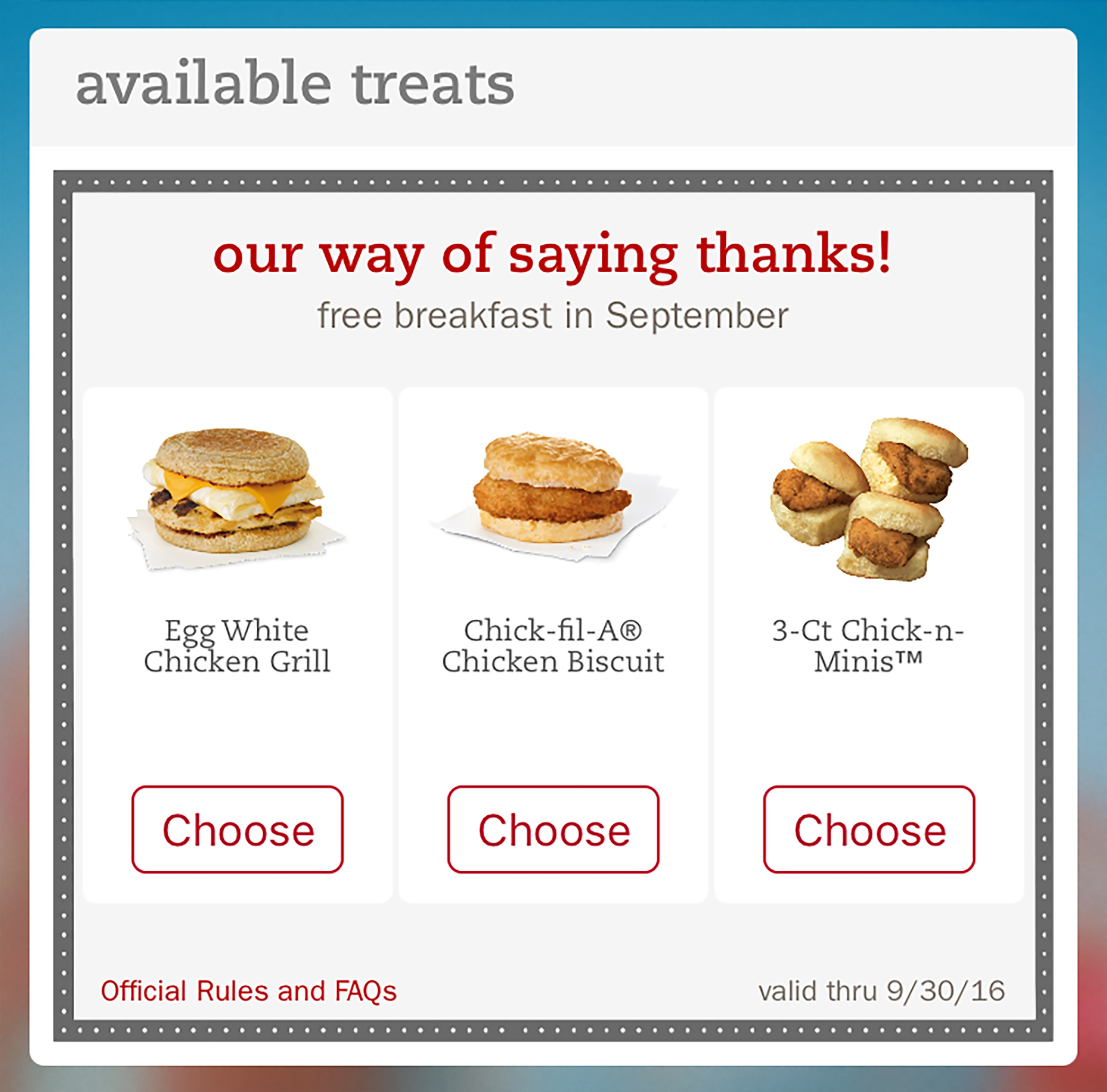 picture relating to Chickfila Printable Coupon titled Absolutely free breakfast for cellular application end users Chick-fil-A