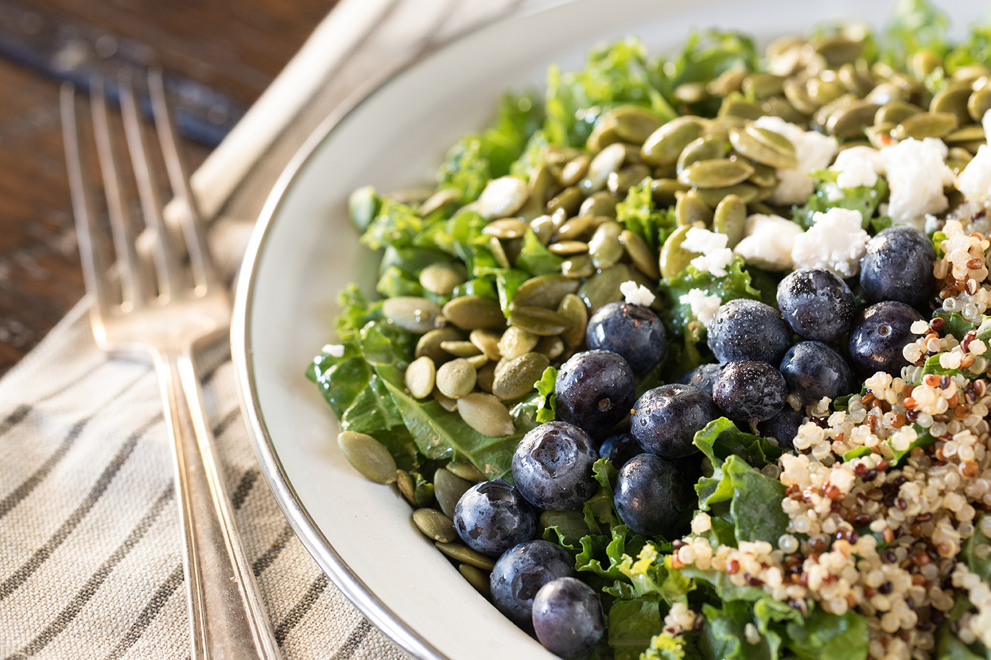 Blueberry Walnut Quinoa Kale Salad Hero