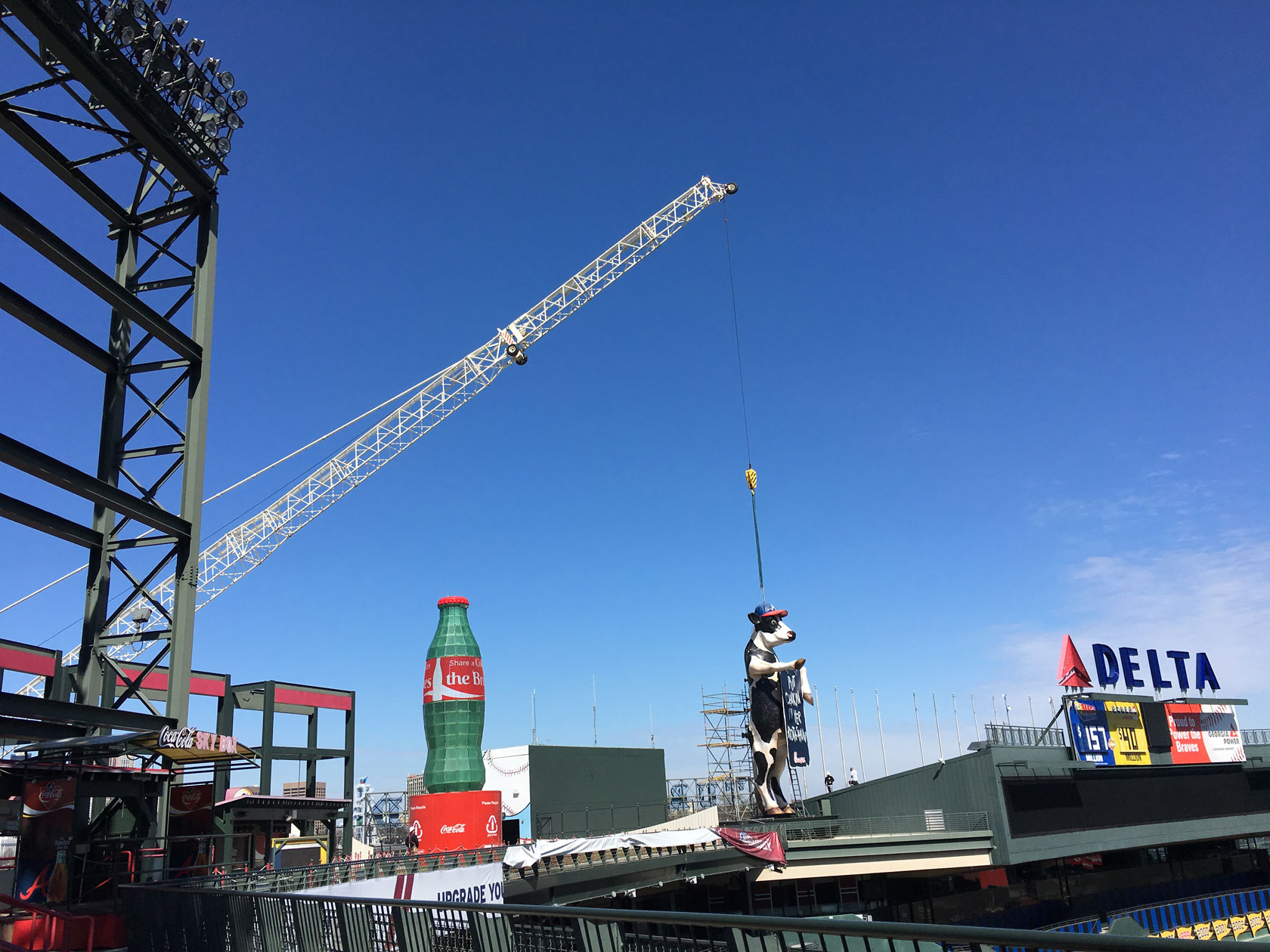 The Chick-fil-A Cow says was lifted by crane from Turner Studios to prepare for its new home in SunTrust Park.