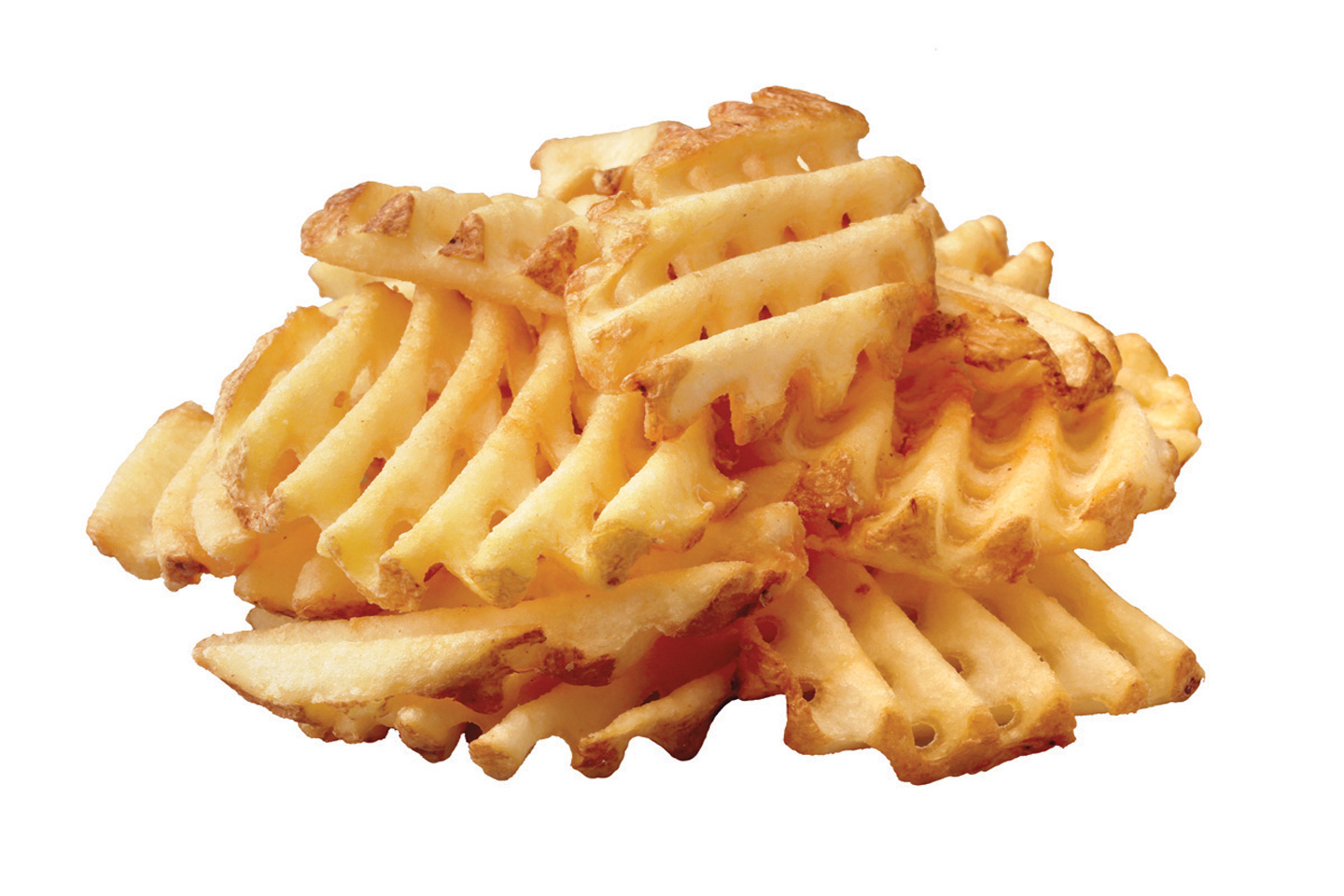A stack of Waffle Potato Fries from Chick-fil-A.