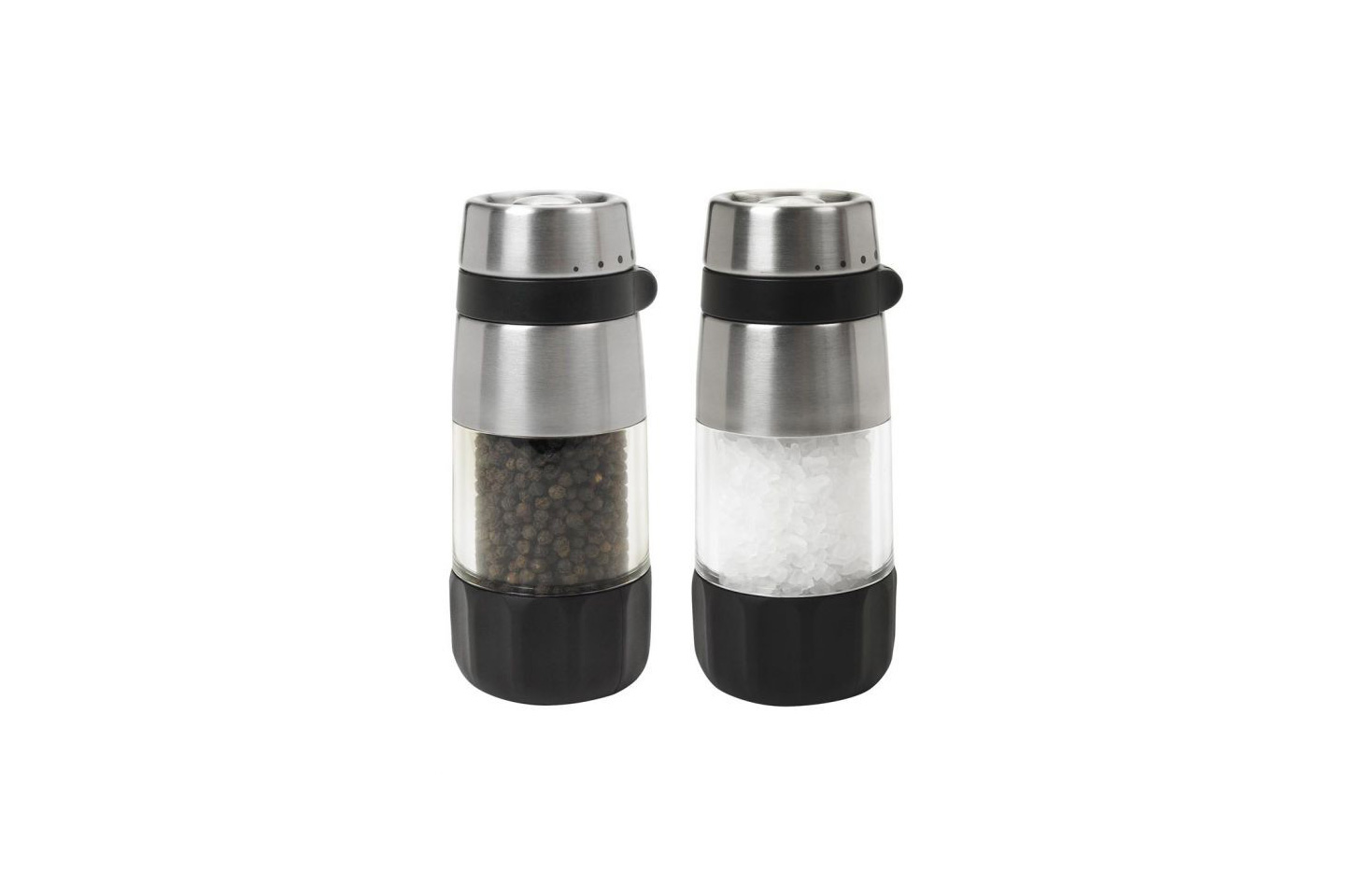 OXO salt and pepper grinders on a white background
