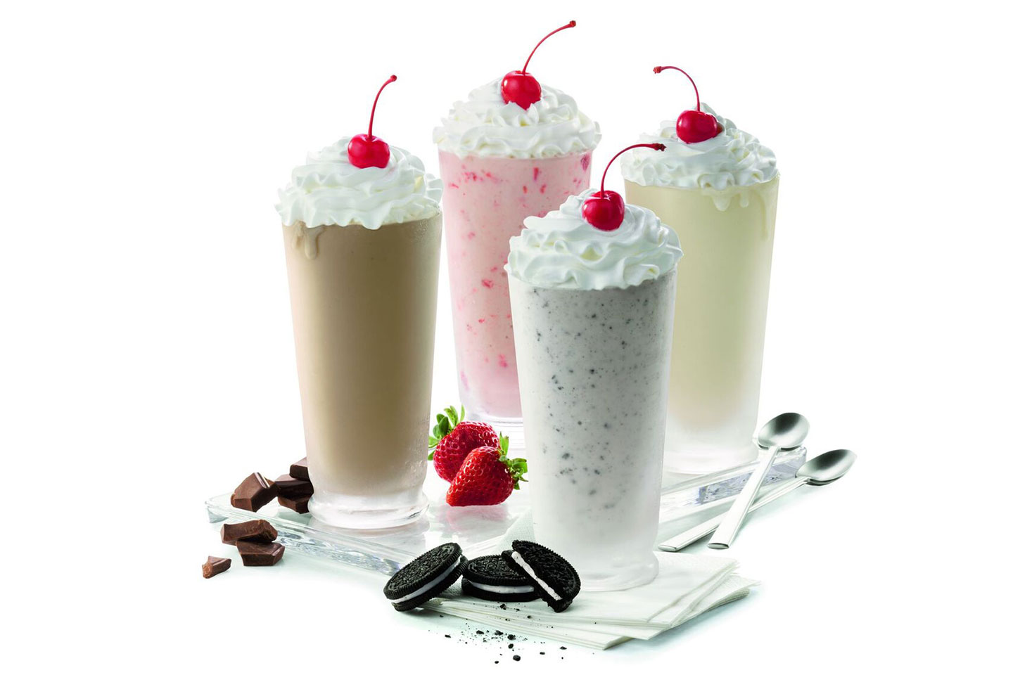 4 varieties of milkshakes