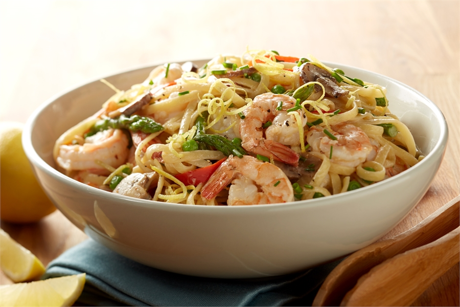 Shrimp Vegetable Pasta with Light Lemon Cream Sauce